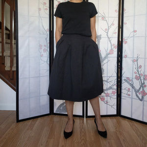 Black Thick Textured Midi Skirt